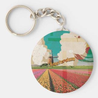 Amsterdam Vintage Travel Poster Key Ring