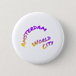 Amsterdam world city, colorful text art 6 cm round badge