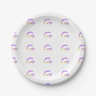 Amsterdam world city, Colorful text art 7 Inch Paper Plate