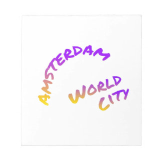 Amsterdam world city, colorful text art notepad