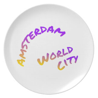 Amsterdam world city, colorful text art party plate