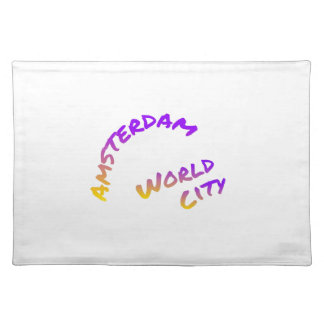 Amsterdam world city, Colorful text art Placemat