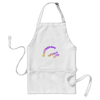 Amsterdam world city, colorful text art standard apron