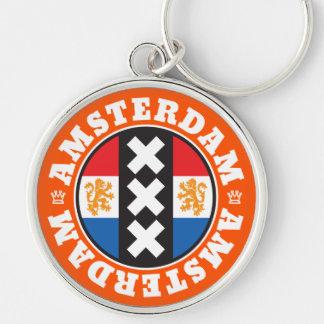 Amsterdam XXX City Symbol with Dutch Flag Key Ring