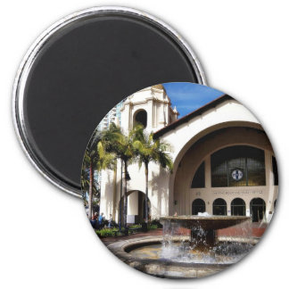 Amtrak Station And Fountain In Downtown San Diego 6 Cm Round Magnet