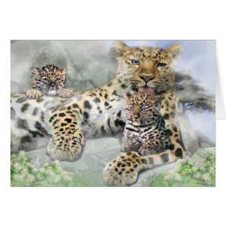 Amur Leopard Family Greeting Card