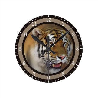 Amur Siberian Tiger Round Clock