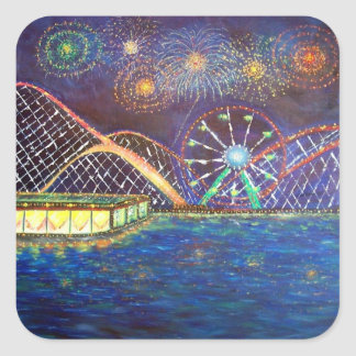Amusement Park Fireworks Roller Coaster Sticker