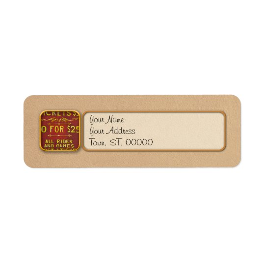 Amusement - Tickets 3 Dollars Return Address Label