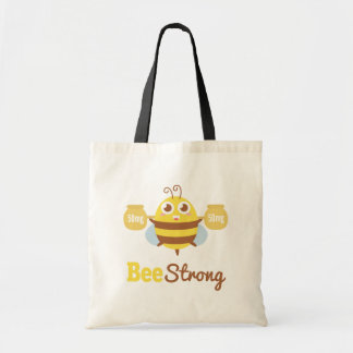 Amusing and Cute Bee Strong Cartoon Budget Tote Bag