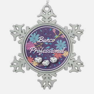 Amusing and Funny Floral Bunco Professional Snowflake Pewter Christmas Ornament