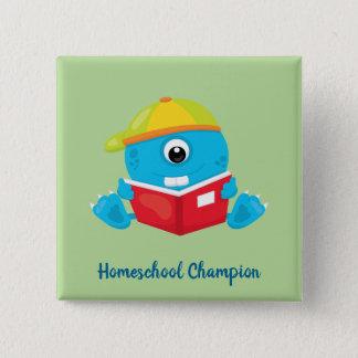 Amusing blue homeschool monster theme 15 cm square badge