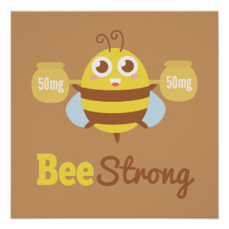 Amusing Cartoon: Cute bee holding pots Poster