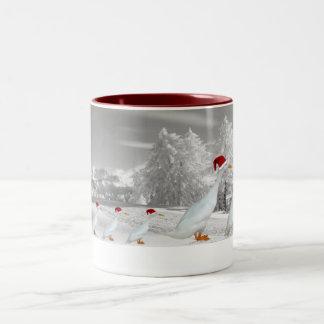 Amusing Christmas runner ducks Two-Tone Mug
