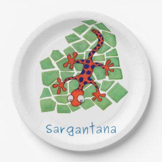 Amusing orange lizard paper plate