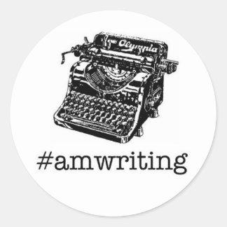 #amwriting classic round sticker