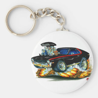 AMX Black-Red Car Basic Round Button Key Ring