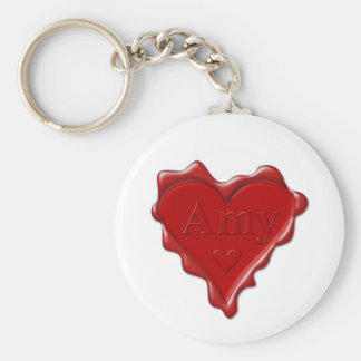 Amy. Red heart wax seal with name Amy Key Ring