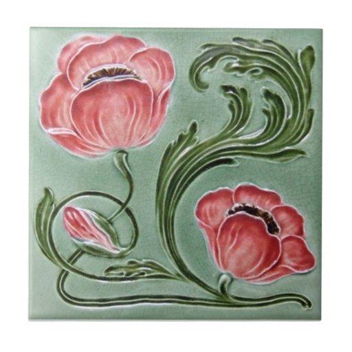 AN074 Art Nouveau Reproduction Antique Tile