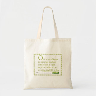An acre of trees consumes your car's annual carbon budget tote bag
