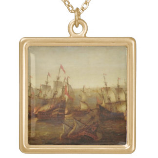 An Action between Spanish Ships and Barbary Galley Gold Plated Necklace