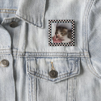 An Adorable Little Sleepy-Head Kitten 15 Cm Square Badge