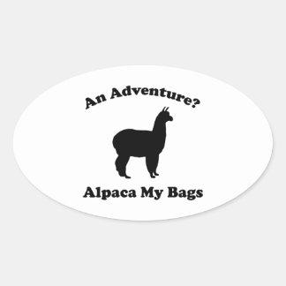 An Adventure? Alpaca My Bags Oval Sticker