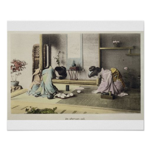 An Afternoon Call, c.1880 (hand coloured albumen p Posters