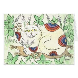 An Afternoon Catnip Break for the Rainbow Neko Greeting Card
