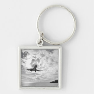 An airliner comes in for a landing at Princess Silver-Colored Square Key Ring