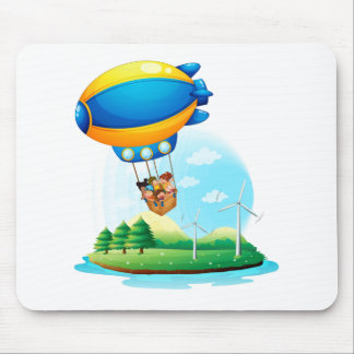 An airship with kids passing over an island mousepads