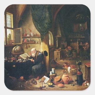 An Alchemist in his Workshop Square Sticker