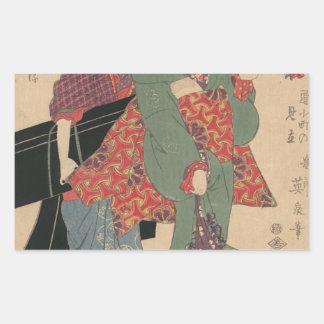 An allegory of Komachi visiting by Keisai Eisen Rectangular Sticker