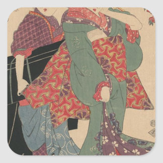 An allegory of Komachi visiting by Keisai Eisen Square Sticker