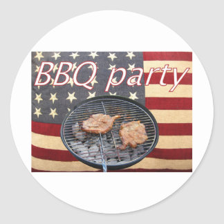 An American BBQ party Classic Round Sticker