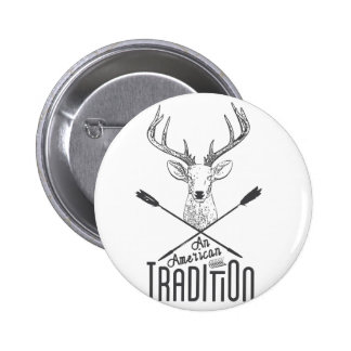 an American Tradition: Deer Head Wood Bow Hunting 6 Cm Round Badge