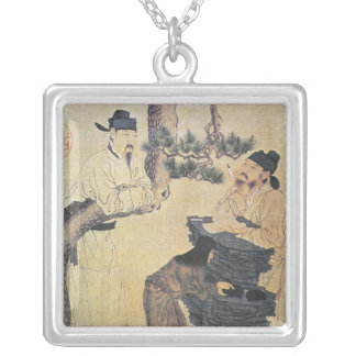 An Ancient Chinese Poet Silver Plated Necklace