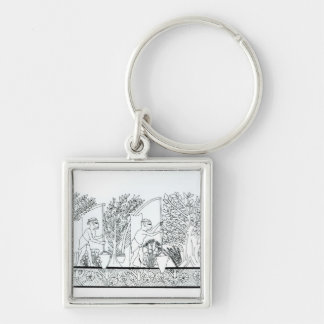 An ancient Egyptian garden (engraving) (b/w photo) Silver-Colored Square Key Ring