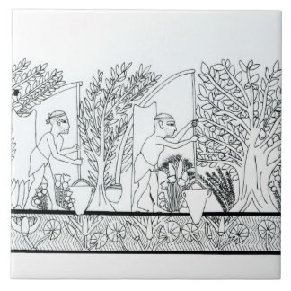 An ancient Egyptian garden (engraving) (b/w photo) Large Square Tile