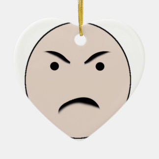 An Angry Face Ceramic Heart Decoration