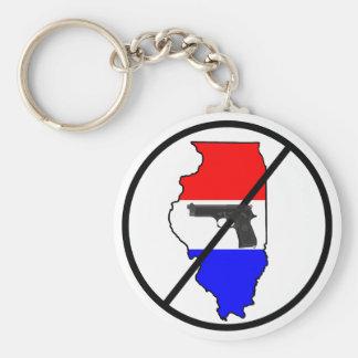 An anti-Illinois gun keychain. Basic Round Button Key Ring