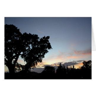An April Sunset behind a Local Oak Tree Card