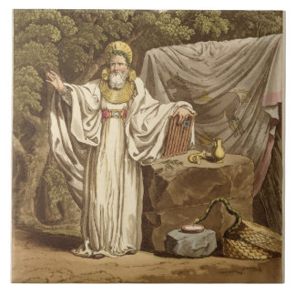An Arch Druid in his Judicial Habit, engraved by R Large Square Tile