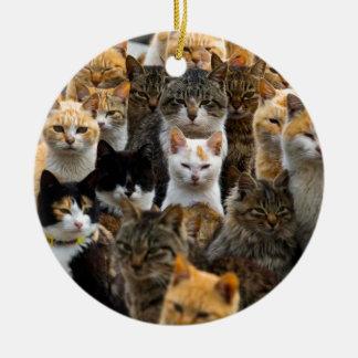 An Army of Cats, Aoshima Island, Japan Round Ceramic Decoration