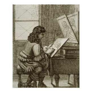 An artist copying onto an engraving plate, printed poster