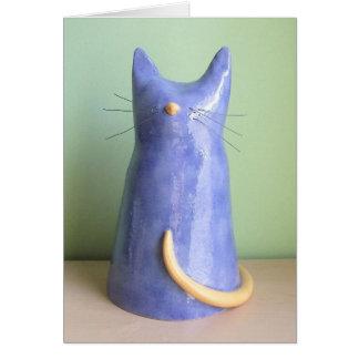 An Artsy Blue Cat Figurine Card