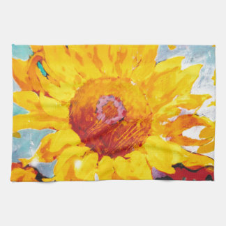 An Artsy Yellow Sunflower Tea Towel