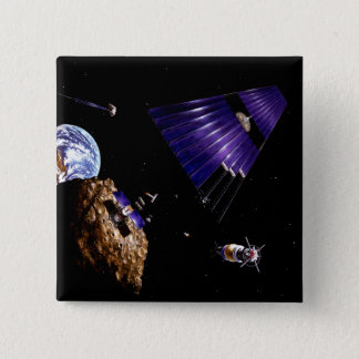 An asteroid mining mission 15 cm square badge