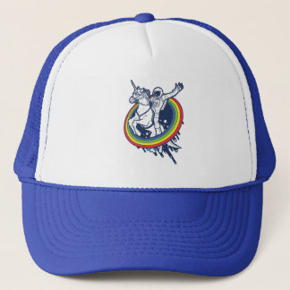 An astronaut riding a unicorn through a rainbow trucker hat