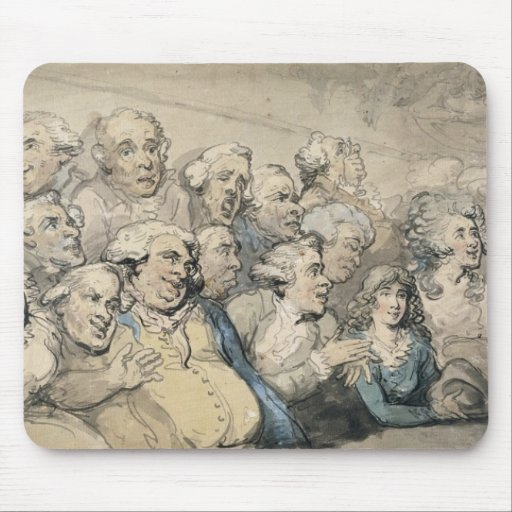 An Audience at Drury Lane Theatre (pen & ink and w Mousepads